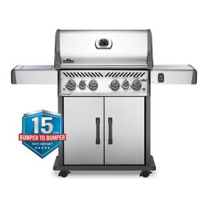 Rogue 4-Burner Propane Gas Grill in Stainless Steel with Infrared Rear and Side Burners