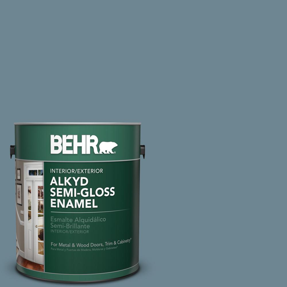 BEHR 1 gal. #hdc-AC-24 Lyric Blue Semi-Gloss Enamel Alkyd Interior/Exterior Paint