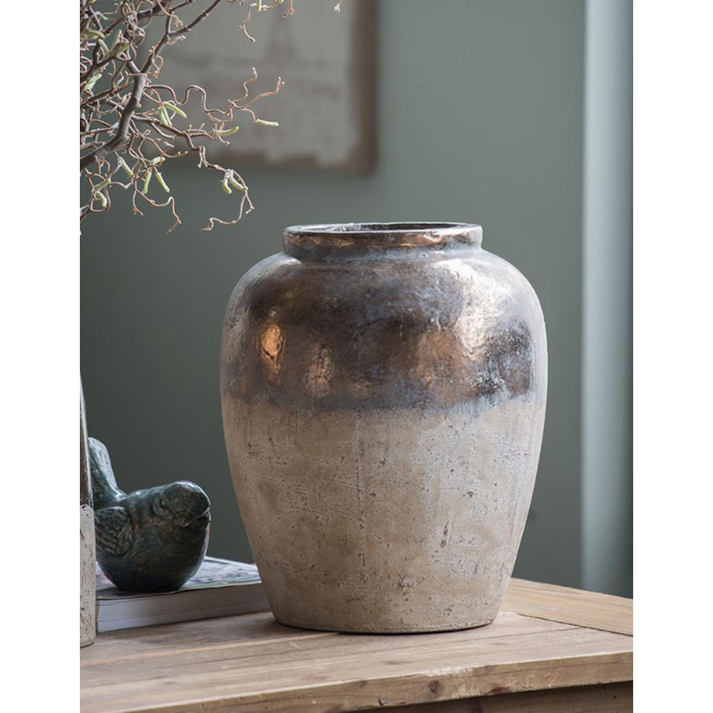16 in. Candia Sienna Brown Ceramic Vase