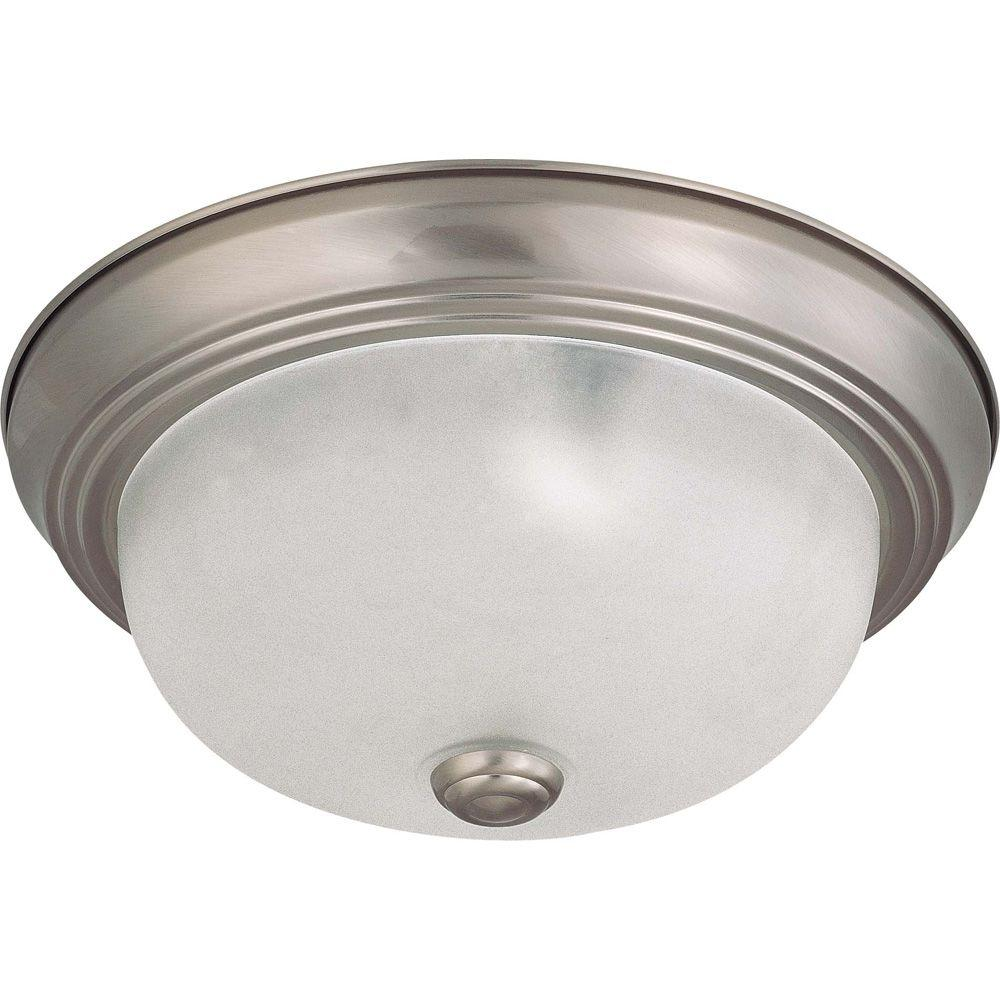 Glomar Elektra 2-Light Brushed Nickel Flushmount with Frosted White Glass
