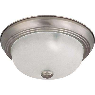 Elektra 2-Light Brushed Nickel Flushmount with Frosted White Glass