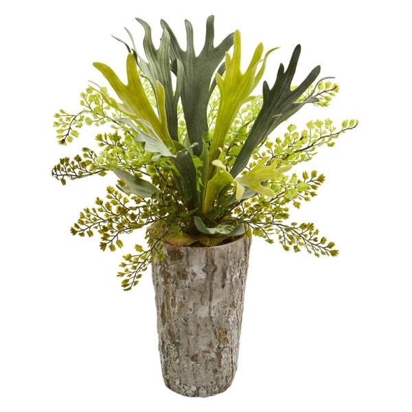 Nearly Natural 19 in. Indoor Staghorn and Maiden Hair Fern Artificial Plant in Weathered Vase