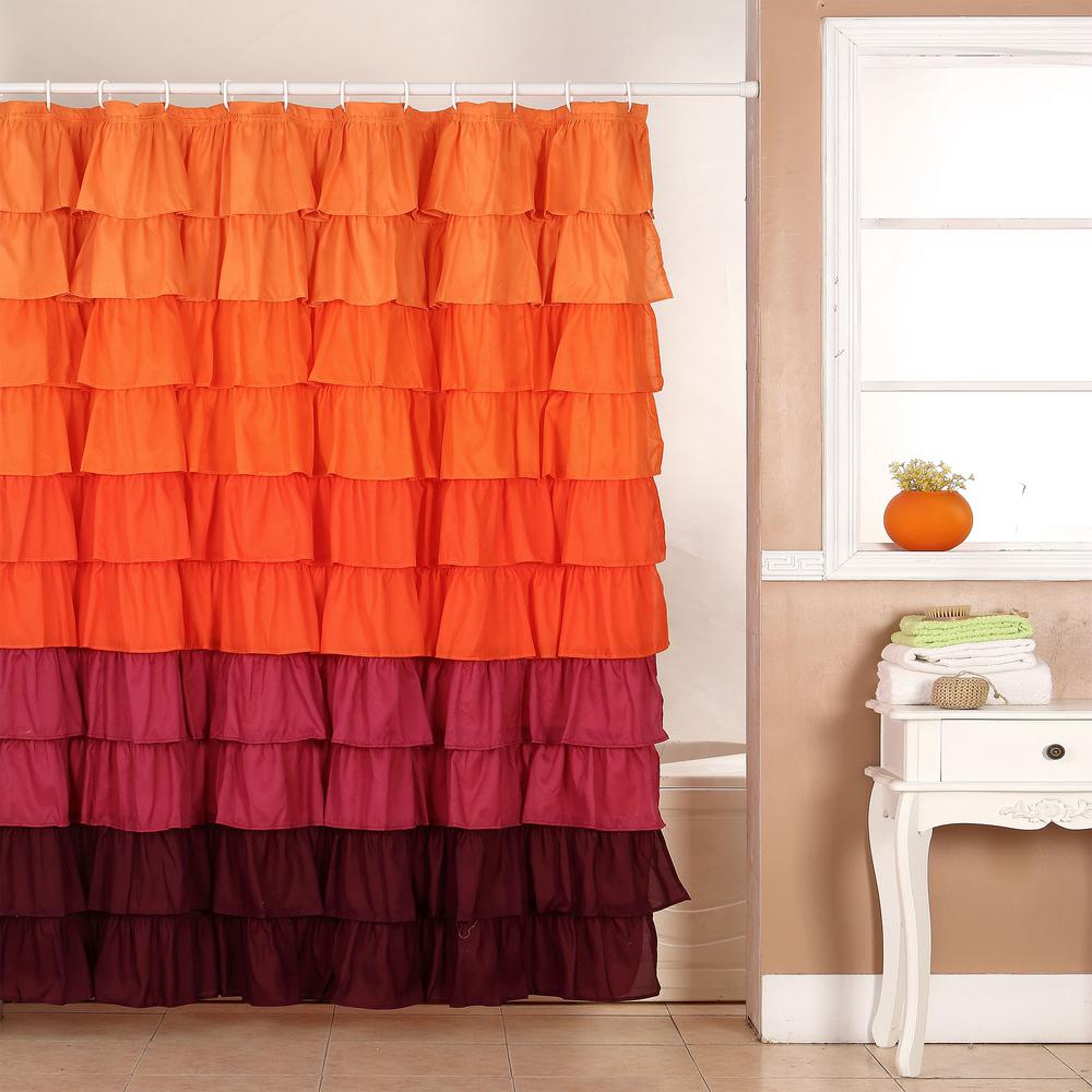 Lavish Home 72 in. Ruffle Shower Curtain with Buttonhole in Orange ...