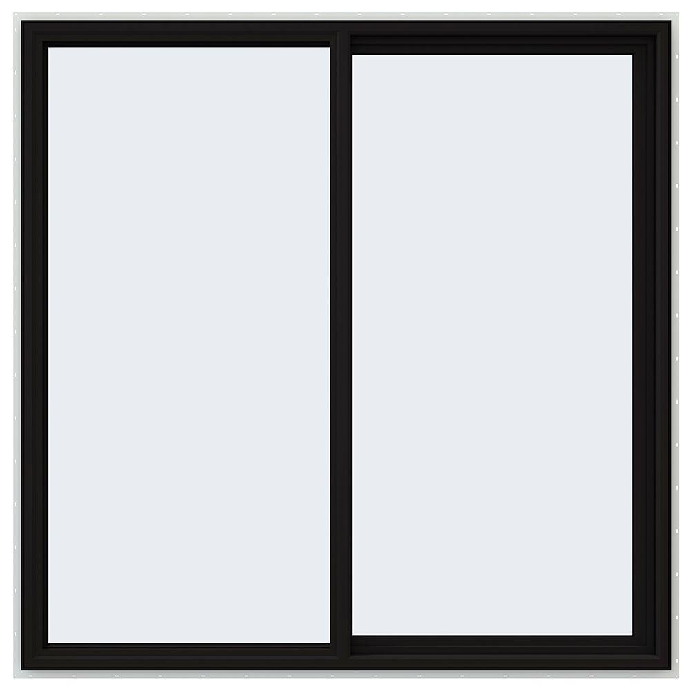 60 in. x 60 in. V-4500 Series Black FiniShield Vinyl Right-Handed Sliding Window with Fiberglass Mesh Screen