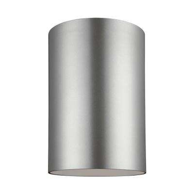 Outdoor Cylinders 9 in. Painted Brushed Nickel 1-Light Outdoor Ceiling Flush Mount