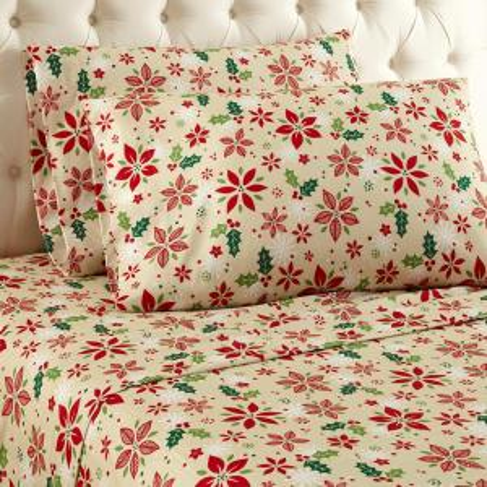 4-Piece Poinsettia King Sheet Set by