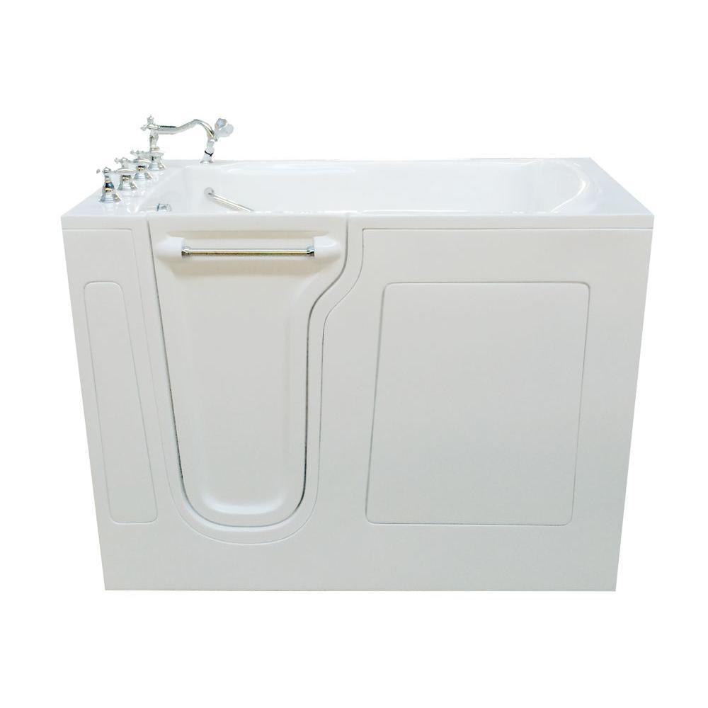 4.42 ft. Left Drain Walk-In Bathtub in White