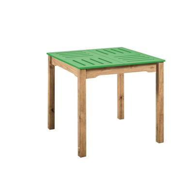 Manhattan Comfort Stillwell 31.5 in. Green and Natural Wood Square Table