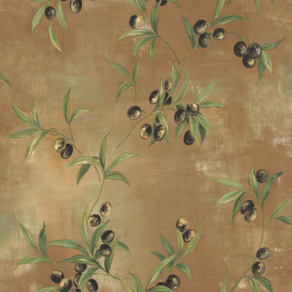 The Wallpaper Company 56 sq. ft. Black and Brown Earth Tone Textured with Olive Branches Wallpaper