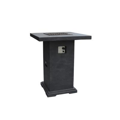 Montreal 34 in. x 42 in. Square Concrete Propane Fire Pit Bar Table in Dark Gray