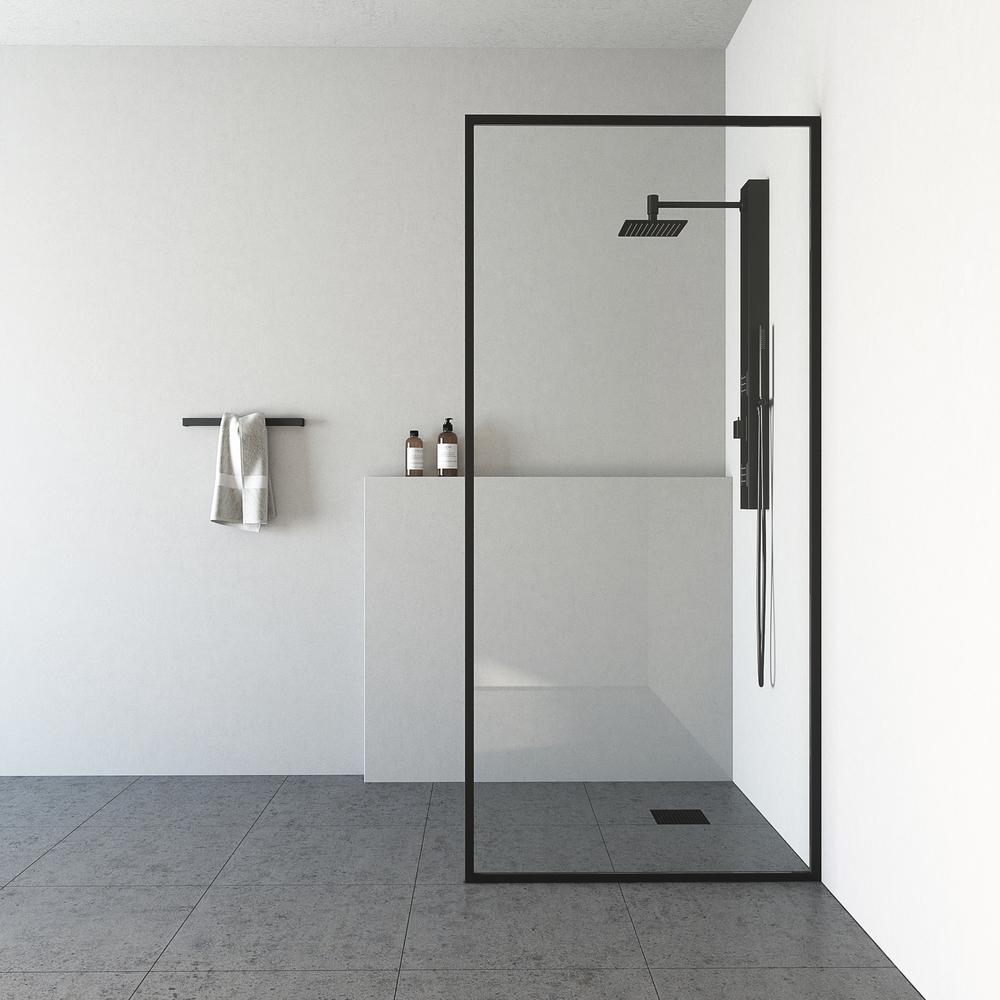 33 in. x 73 in. Frameless Fixed Shower Screen in Matte Black