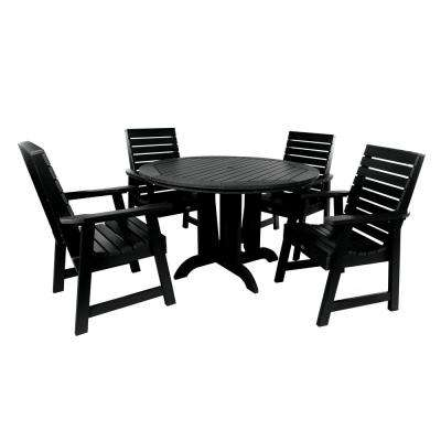 Weatherly Black 5-Piece Recycled Plastic Round Outdoor Dining Set