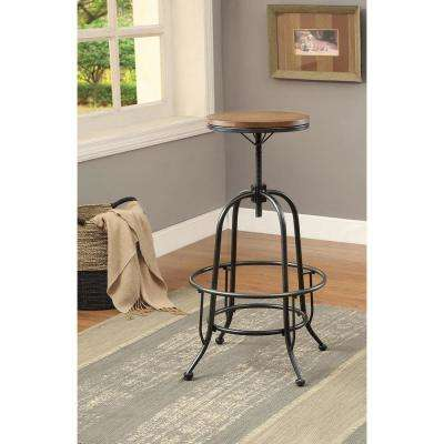 Dylan 28.75 in. Medium Oak Adjustable Bar Stool (Set of 2)