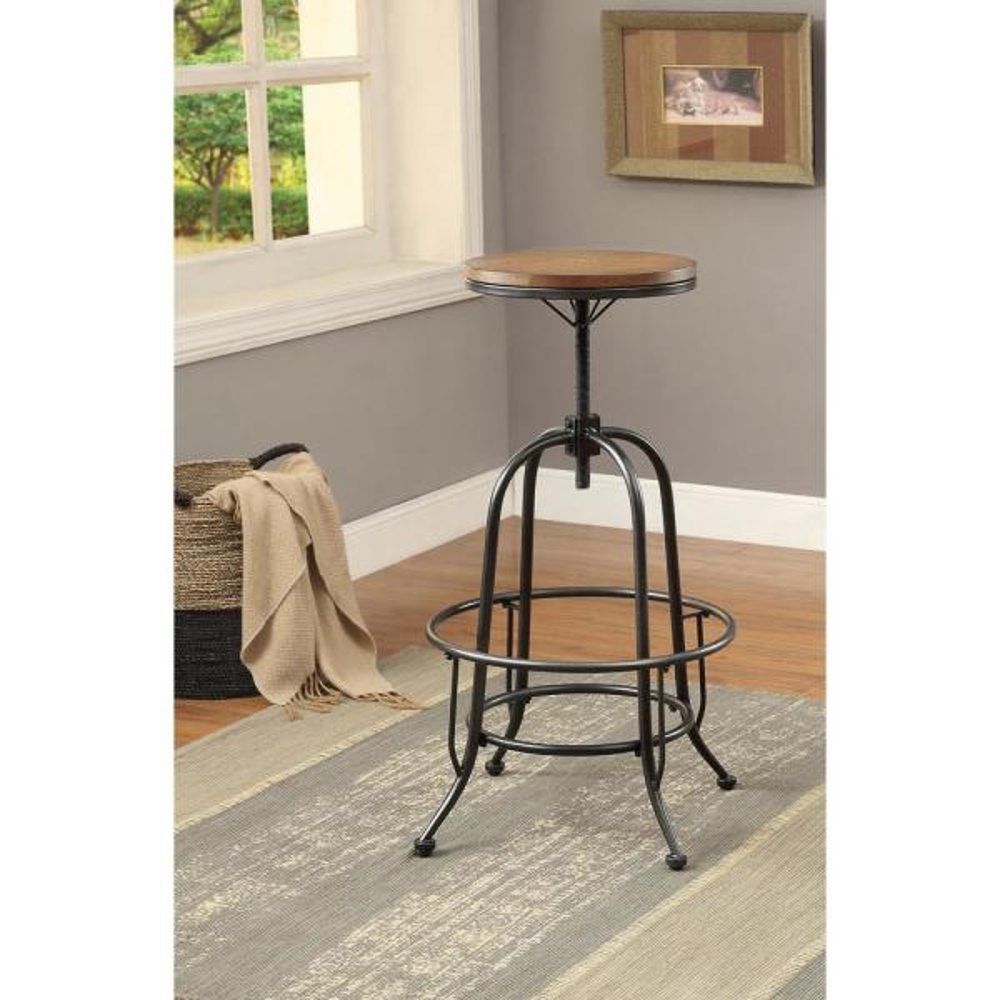 Furniture of America Dylan 28.75 in. Medium Oak Adjustable Bar Stool (Set of 2)