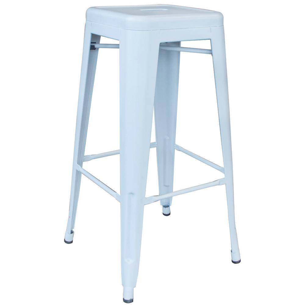 AmeriHome Loft Series 30 in. Indoor/Outdoor Stackable Anti-Rust Coated Metal Bar Stool in White was $85.99 now $57.84 (33.0% off)