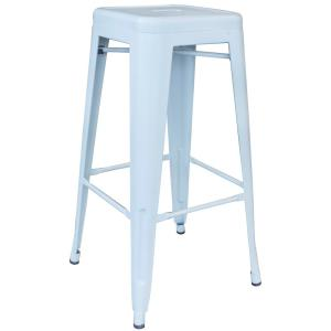 Loft Series 30 in. Indoor/Outdoor Stackable Anti-Rust Coated Metal Bar Stool in White