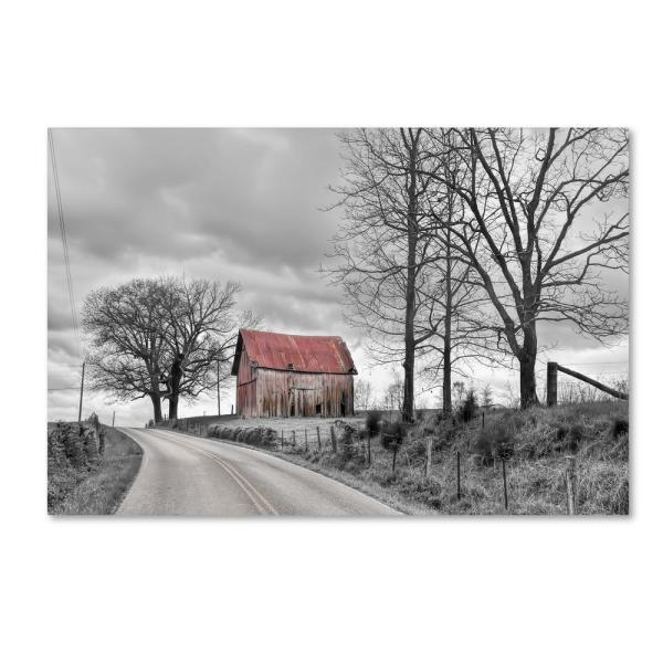 16 in. x 24 in. Springs Barn And Road Bw by Bob Rouse Hidden Frame Country Wall Art