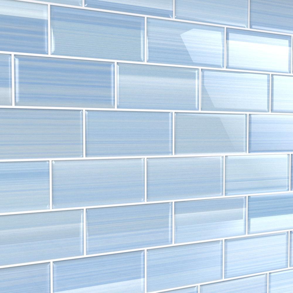 - Bodesi Big Blue 3 In. X 6 In. Glass Tile For Kitchen Backsplash