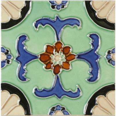 Hand-Painted Ceramic Fuente 6 in. x 6 in. x 6.35 mm Glazed Ceramic Wall Tile (2.5 sq. ft. / case)