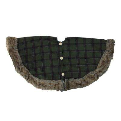 47 in. Green Plaid Christmas Tree Skirt with Faux Fur Border