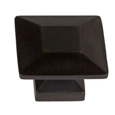 1-3/8 in. Oil Rubbed Bronze Square Cabinet Knob (10-Pack)