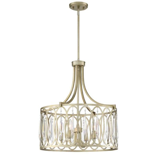 Hutton 21 in. 4-Light Sterling Gold Inverted Pendant