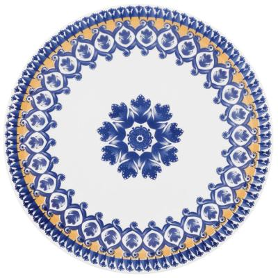10.04 in. Floreal  Blue and Yellow Dinner Plates (Set of 6)