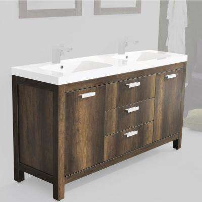 Massa 59.06 in. W x 18.9 in. D Vanity with Stone Resin Vanity Top in White with White Basin