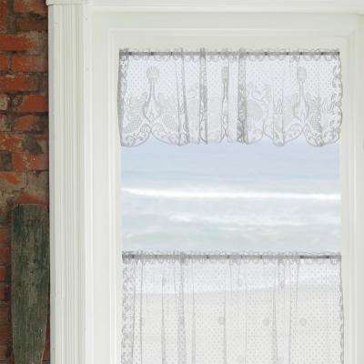 Mermaids 60 in. L Polyester Valance in White