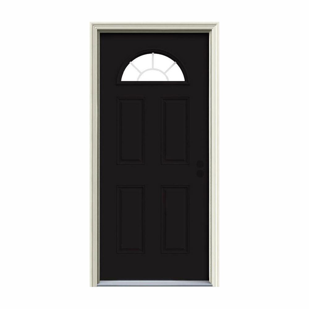 32 in. x 80 in. Fan Lite Black w/White Interior Steel Prehung Left-Hand Inswing Front Door w/Brickmould