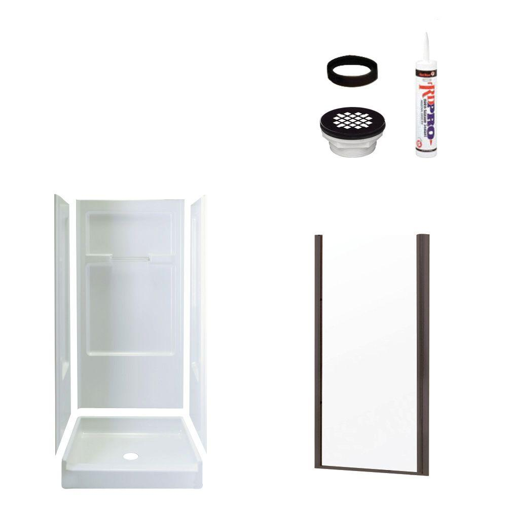 STERLING Advantage 34 in. x 36 in. x 72 in. Shower Kit with Shower Door in White/Oil Rubbed Bronze-DISCONTINUED