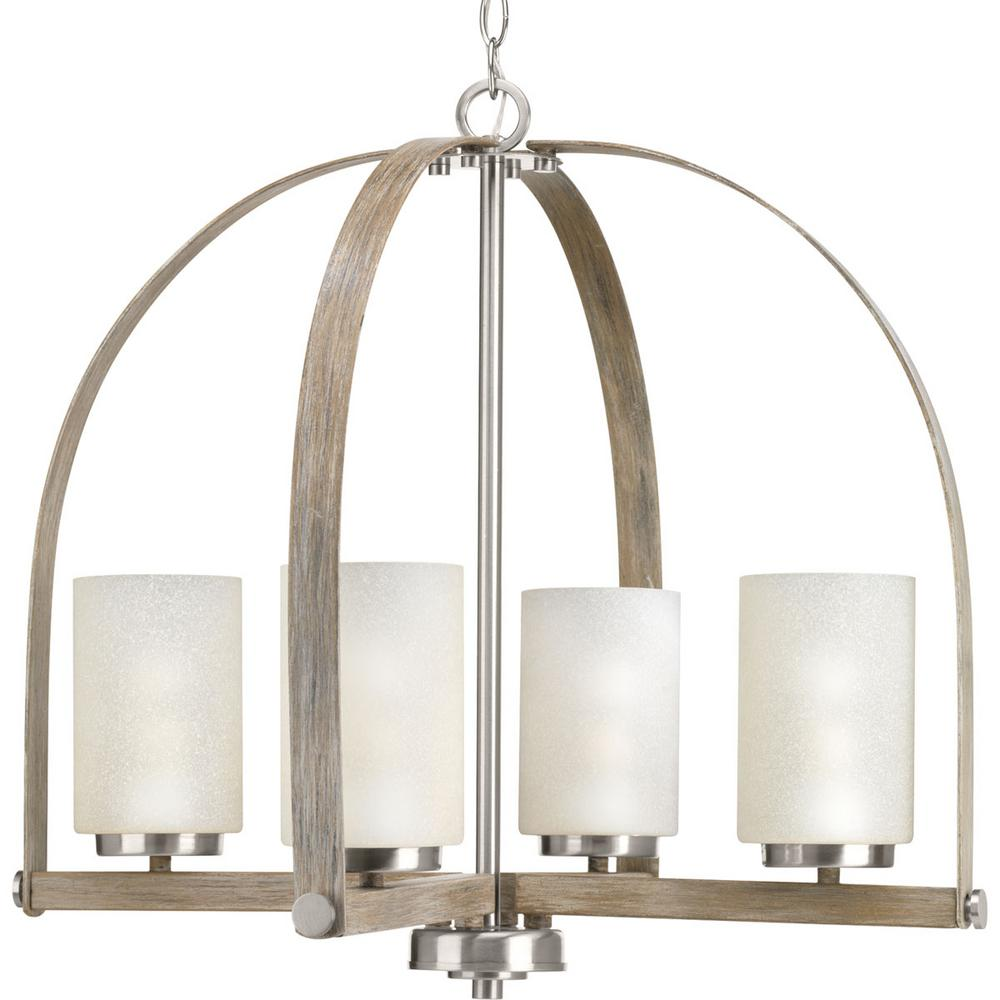 Aspen Creek Collection 4-light Brushed Nickel Chandelier with Natural Parchment