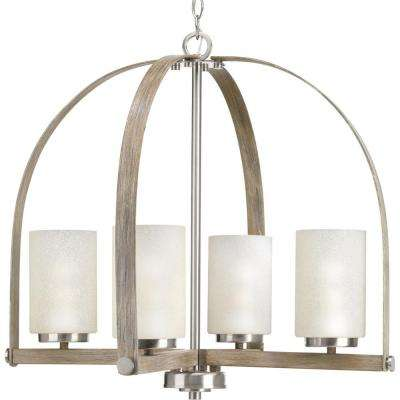 Aspen Creek Collection 4-light Brushed Nickel Chandelier with Natural Parchment Glass Shade