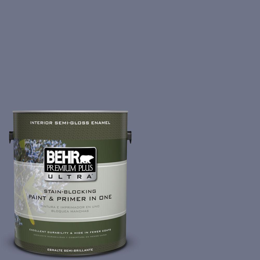 BEHR Premium Plus Ultra 1-gal. #PPU16-17 Blue Aura Semi-Gloss Enamel Interior Paint