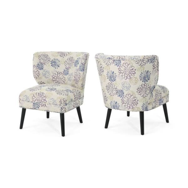 Desdemona Modern Boho Purple and Green Floral Fabric Accent Chairs (Set of 2)