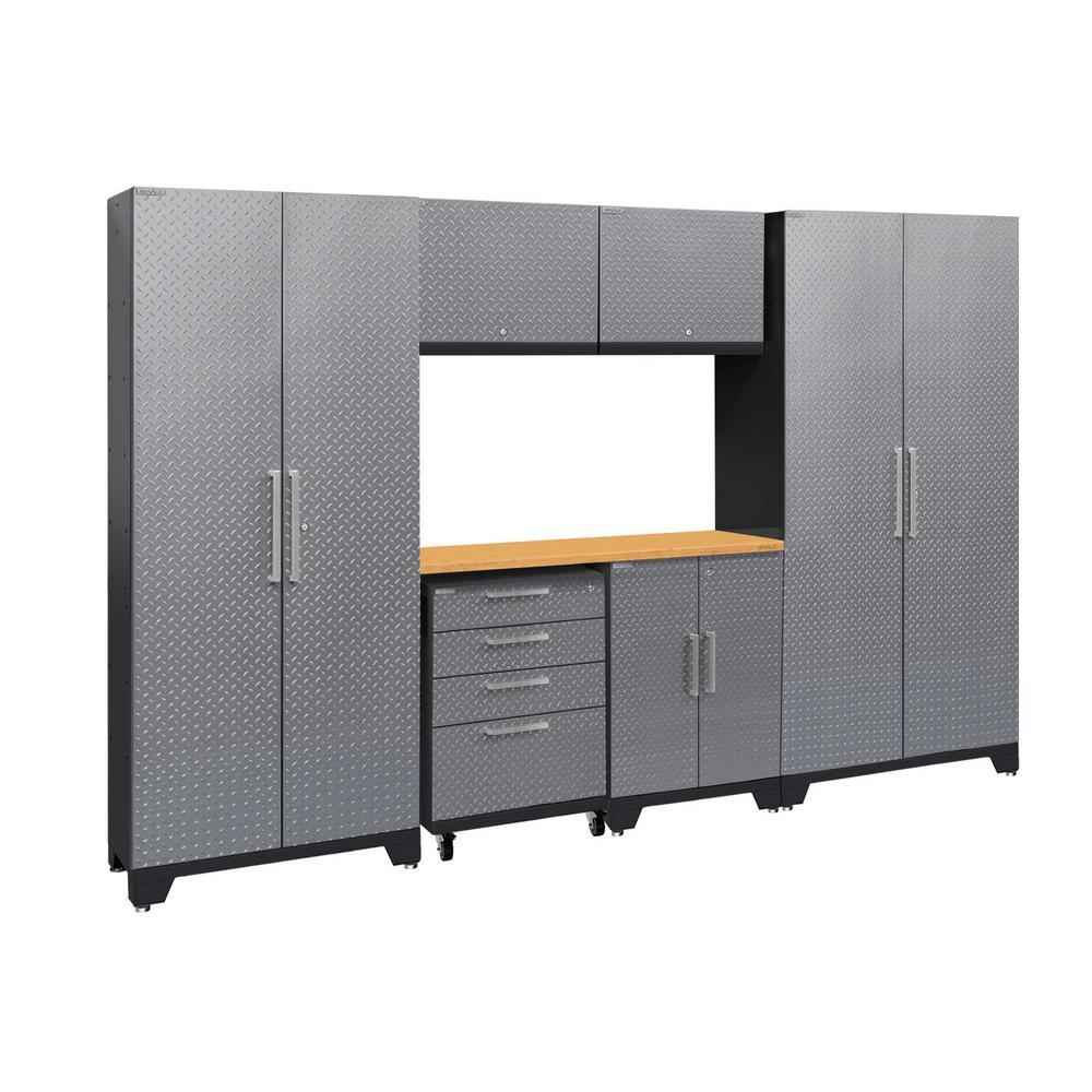 Performance 2.0 Diamond Plate 77.25 in. H x 108 in. W x 18 in. D Steel Bamboo Worktop Cabinet Set Silver (7-Piece)