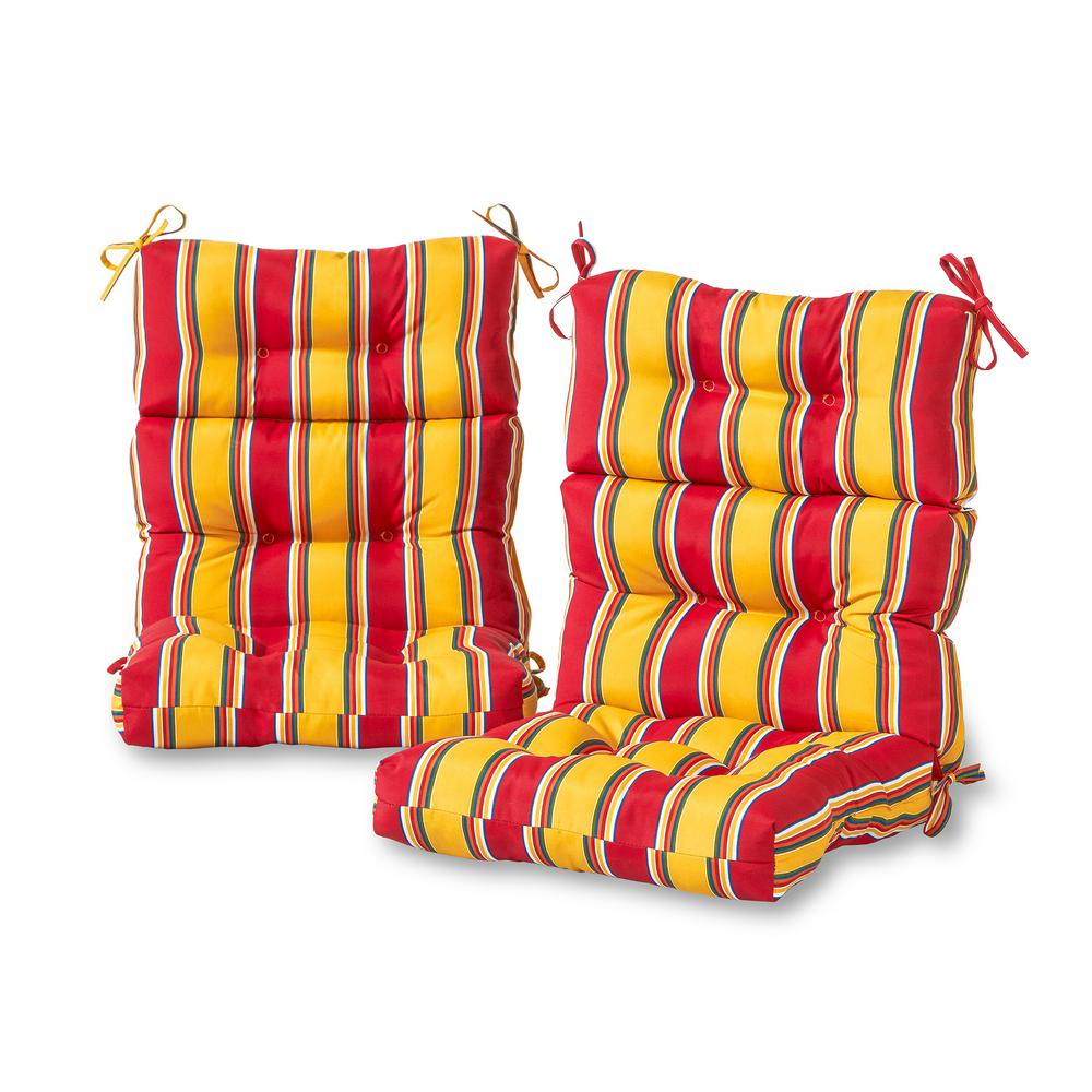 Greendale Home Fashions Carnival Stripe Outdoor High Back ...