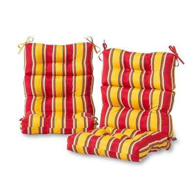 Carnival Stripe Outdoor High Back Dining Chair Cushion (2-Pack)
