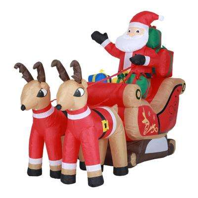7 ft. Santa and Sleigh Inflatable with LED Lights