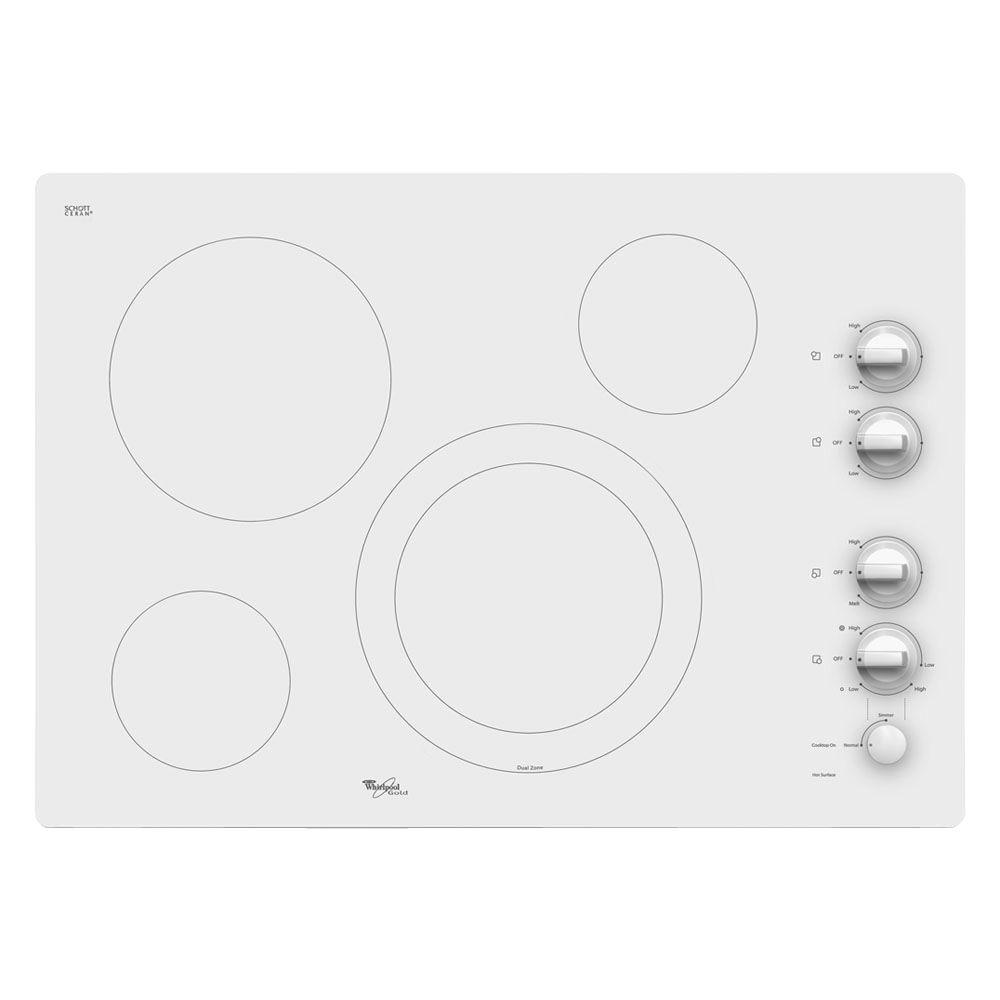 Whirlpool Gold 30 in. Radiant Electric Cooktop in Pure White with 4 Elements including AccuSimmer Element
