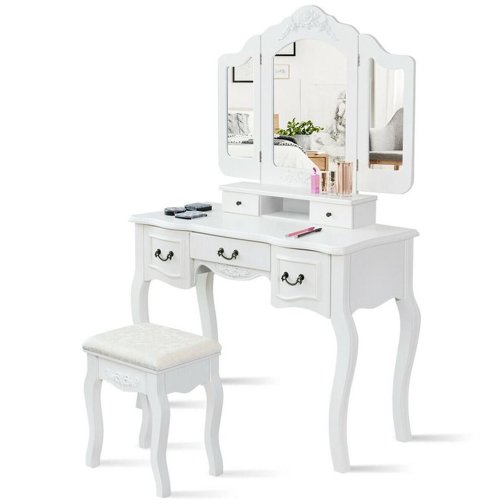 Costway 3-Piece White Living Room Set Tri Folding Vintage ...