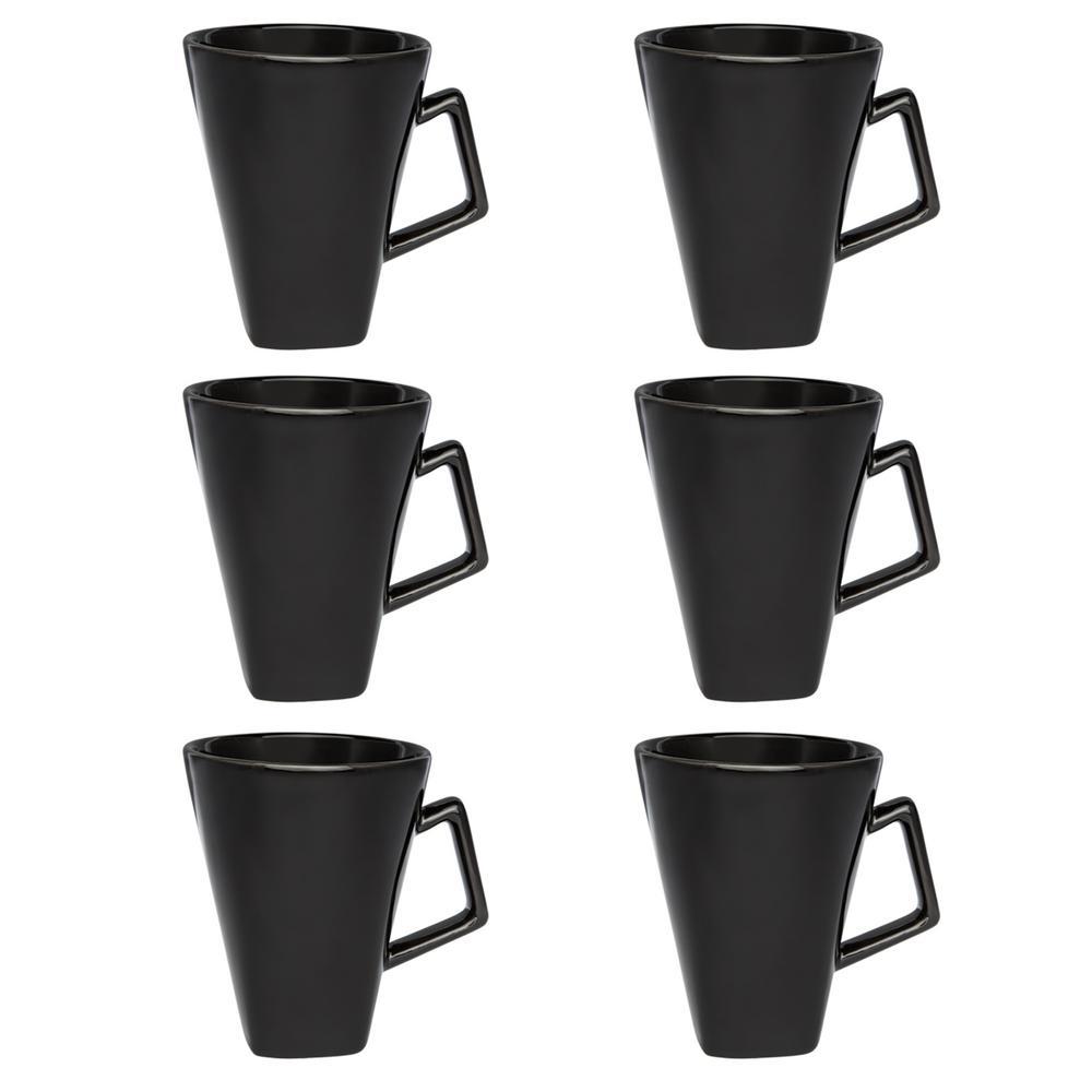 Manhattan Comfort Nara 11.83 oz. Black Square Beveled Earthenware Mugs (Set of 6) was $59.99 now $32.31 (46.0% off)