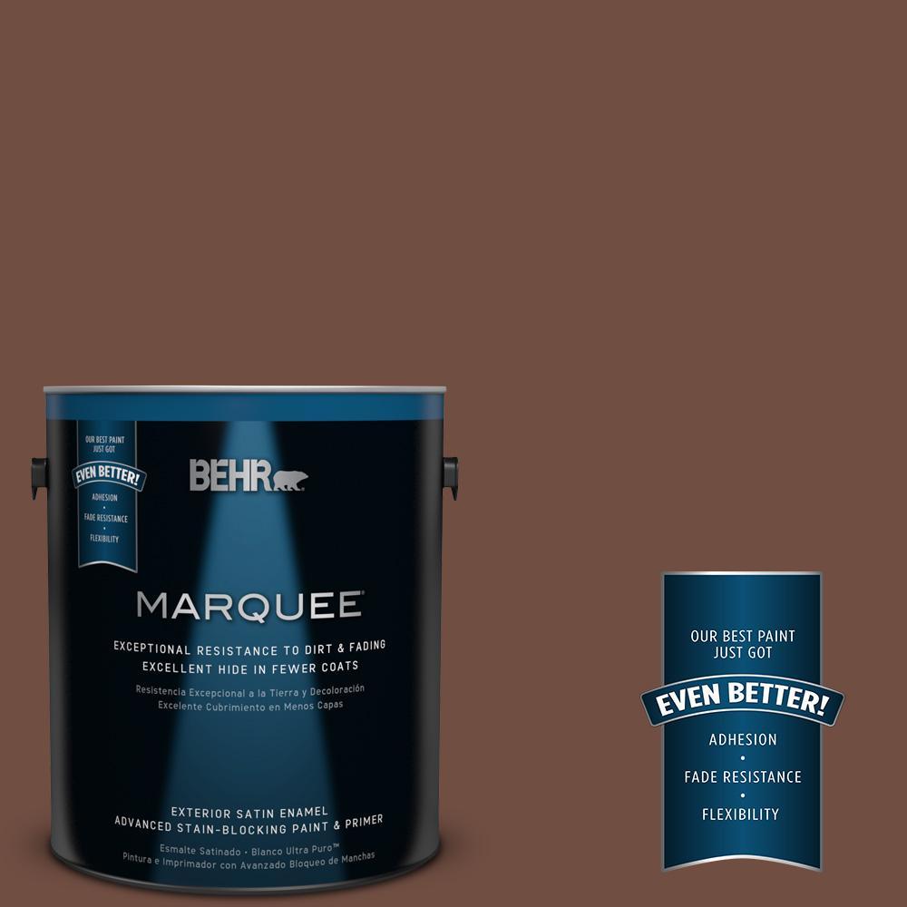 BEHR MARQUEE 1-gal. #N160-7 Brown Velvet Satin Enamel Exterior Paint