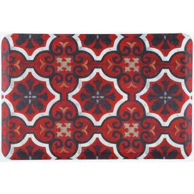 Designer Chef Red Tiles 18 in. x 30 in. Anti-Fatigue Kitchen Mat