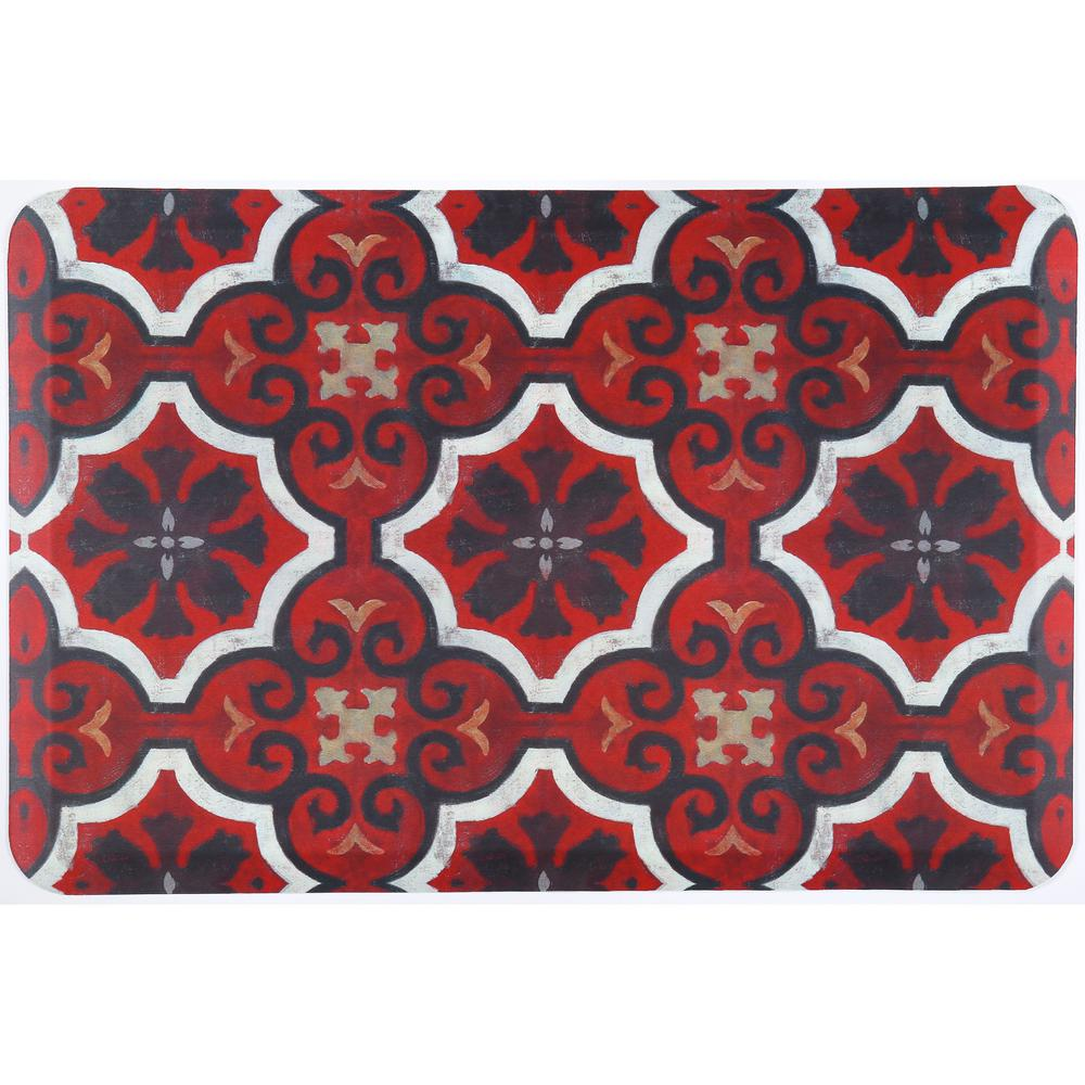 Designer Chef Red Tiles 18 in. x 30 in. Anti-Fatigue Kitchen