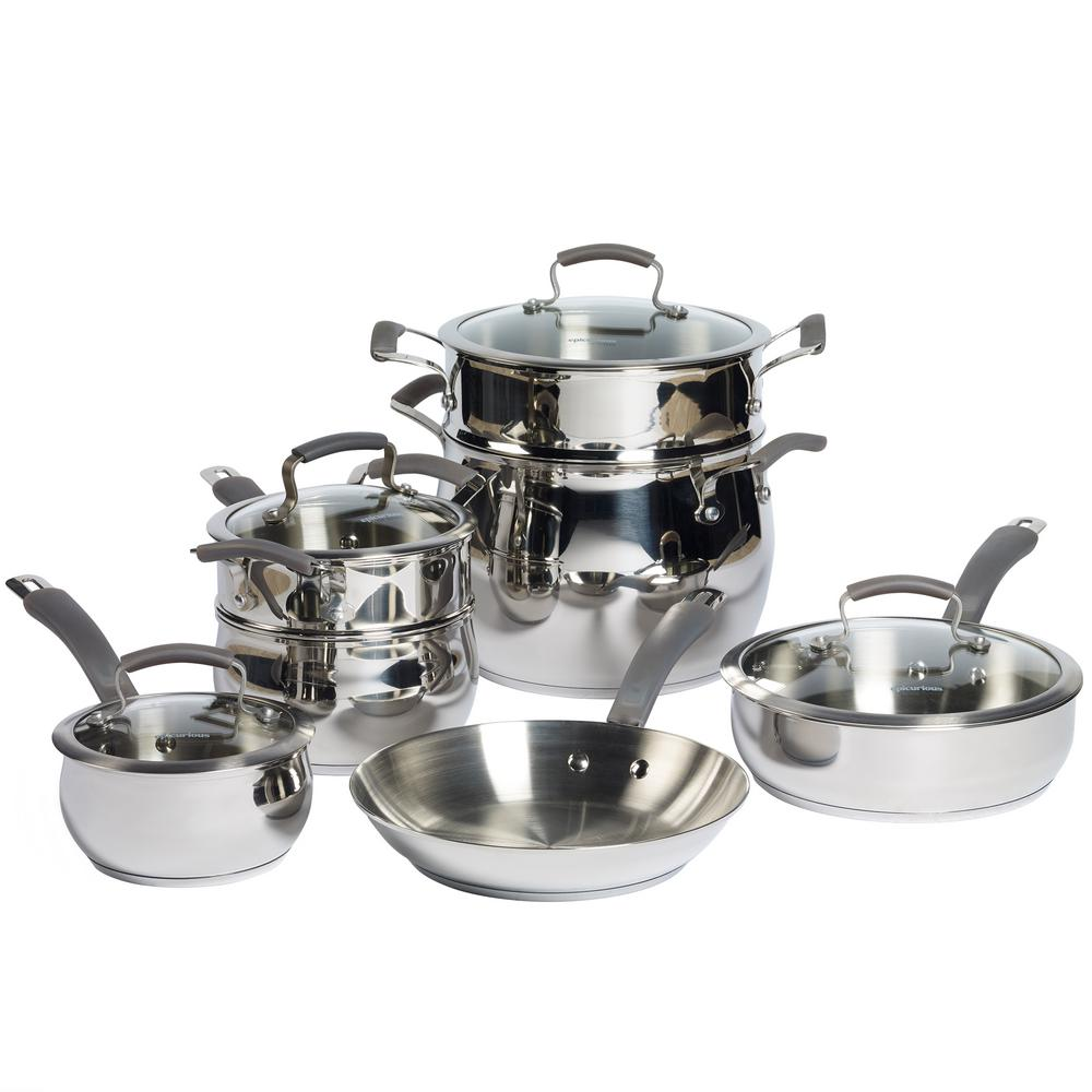 11-Piece Stainless Steel Cookware Set, Mirror Polish