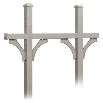 Deluxe In-Ground Mounted Bridge Style Post for 5 Mailboxes, Nickel