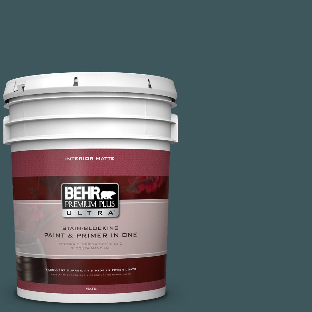 5 gal. #510F-7 Teal Forest Flat/Matte Interior Paint