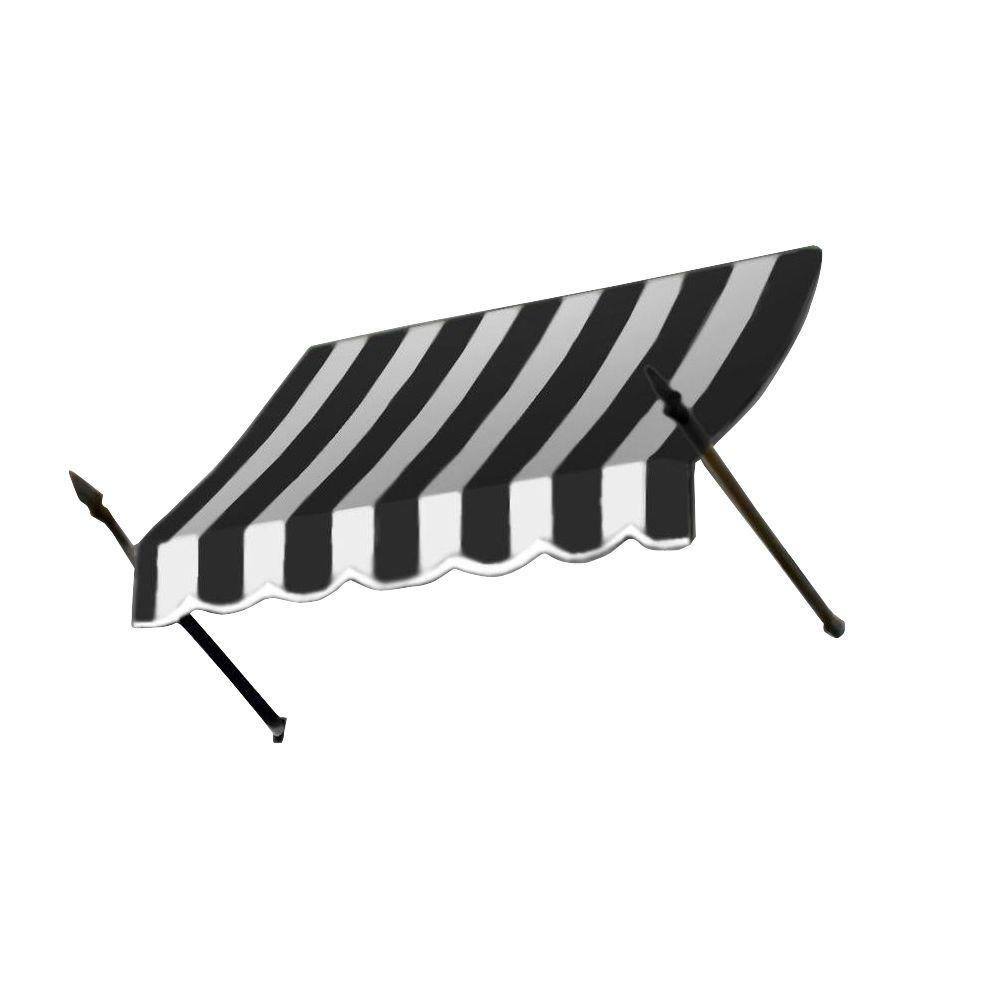 AWNTECH 6 ft. New Orleans Awning (56 in. H x 32 in. D) in Black / White Stripe