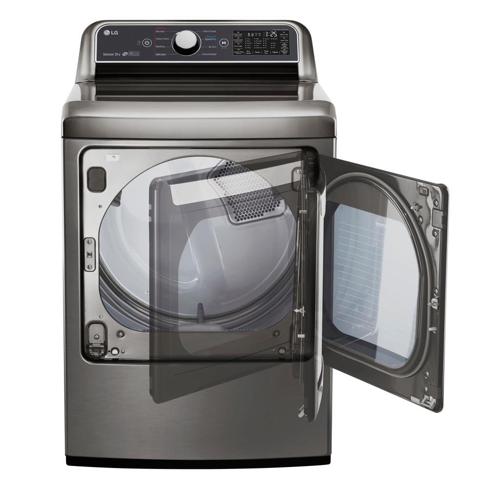 LG Electronics 7 3 cu  ft  Graphite Steel Electric Vented Dryer with Rear  Controls and EasyLoad Door